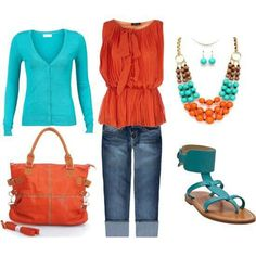 Turquoise and coral