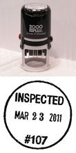 Inspection Stamps - Des Moines Stamp: Rubber, Aluminum, Dater Inspection Stamps