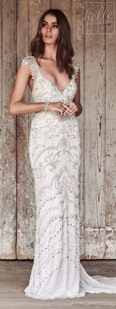 Romantic Floral Lace Wedding Dress with Flutter Sleeves | Brides ...