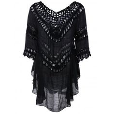 SHARE & Get it FREE | Plunge V Neck Crochet Loose See-Through BlouseFor Fashion Lovers only:80,000+ Items·FREE SHIPPING Join Dresslily: Get YOUR $50 NOW!