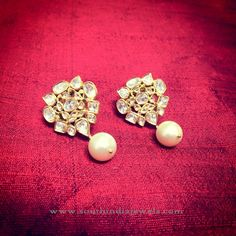 Gold Ear Studs with Pearl Drops, Gold Pearl Drop Earrings.