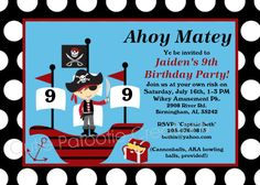 Pirate Birthday Invitation - Pirate Party Invitations Printable or Printed