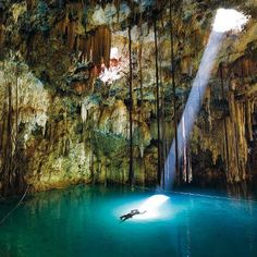 The Maya believed natural wells, such as the Xkeken cenote in Mexico's Yucatán, led to the underworld.