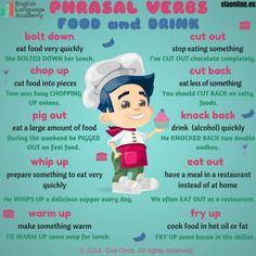 Phrasal verbs - Food and Drink, English, Phrasal Verbs English Verbs, English Phrases, English Vocabulary, English Grammar, English Activities, English Resources, English Lessons, English Language Learning, Teaching English