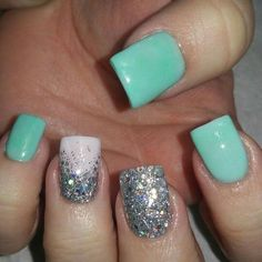 Teal and silver nails