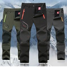 951f15d9a01 Quality Men Autumn Thick Winter Outdoor Sports Hiking Trousers Waterproof  Windproof Soft shell Ski Fleece Long pants  95805