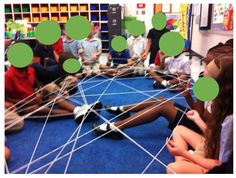 The School Potato: build a giant web of yarn to help students learn team work. This leads into a great discussion about how we're stronger when we work all together. Back To School Activities, Work Activities, Teaching Activities, Therapy Activities, School Ideas, 1st Day Of School, Beginning Of The School Year, Cooperative Learning, Student Learning