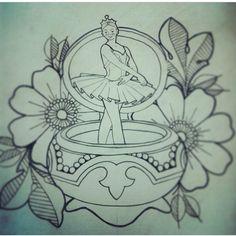 Music box ballerina tattoo