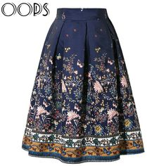 OOPS 2016 New Design Midi Skirts Vintage Floral Printed Swing Pleated Flared  Women Skirt f25bb3007da5
