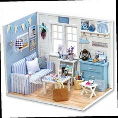 """47.80$  Buy now - http://aliffl.worldwells.pw/go.php?t=32698702701 - """"Miniature Wooden House DIY Dollhouse Kit  Toys  for Kid's Birthday Gifts,""""""""The Fresh Sunsine""""""""Miniaturas Doll Houses Furniture Toy"""" 47.80$"""