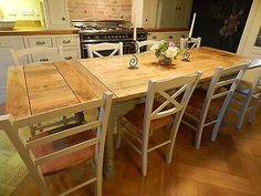 Large Rustic Farmhouse OAK Kitchen Dining Table EXTENDING 8.5ft F&B PAINTED New