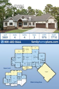 This 4 bedroom, 4 bathroom, craftsman house plan is amazing both inside and out. - This 4 bedroom, 4 bathroom, craftsman house plan is amazing both inside and out. Inside the open fl - Luxury Floor Plans, Luxury House Plans, New House Plans, Dream House Plans, House Floor Plans, Stone House Plans, Basement Floor Plans, Basement Layout, Walkout Basement