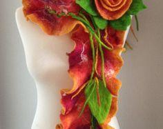 Collar de fieltro lana collar flor con estilo por Palarts en Etsy