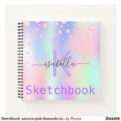 Sketchbook unicorn pink diamonds iridescent name notebook Pink Diamonds, Notebook Covers, Monogram Letters, Color Names, Page Design, Rainbow Colors, Notebooks, Iridescent, Keep It Cleaner