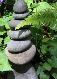 OOAK NW River Rocks Stacked Drilled Zen-Tranquil-Serene Yard Art Home Decor Rock Cairn Sculpture. $42.00, via Etsy.