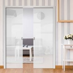 Thruslide surface fix sliding doors are doors that slide across the face of the wall, all available in single and double sliding door configurations. Double Glass, Doors, Glass Wall, Room Divider, Pocket Doors, Home Decor, White Glass, Glass Pocket Doors, Bathroom Design