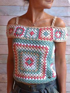 Crochet Summer Lace Top Ethic style Blouse Multicolor Crochet # crochet fashion boho CROCHET Crop Blouse Multicolor off the shoulder Top Granny square Crochet Boho Top woman Poncho Crochet, Pull Crochet, Mode Crochet, Crochet Motifs, Crochet Blouse, Crochet Squares, Crochet Lace, Cotton Crochet, Crochet Style