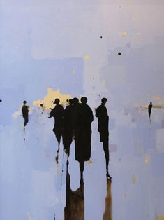 Geoffrey Johnson, Figures in Blue and Green, oils on canvas