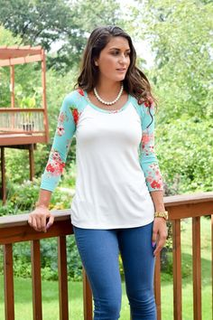 Oh look at these CUTE Floral Baseball Tunic Tees! Many Colors! | $19.99 on Jane.com