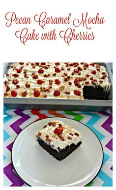 Pecan Caramel Mocha Cake with Cherries Do you like chocolate cake? Then you'll love my Pecan Caramel mocha Cake with Cherries on top! Cherry Recipes, Pecan Recipes, Caramel Recipes, Chocolate Recipes, Cake Recipes, Dessert Recipes, Summer Desserts, Holiday Desserts, No Bake Desserts