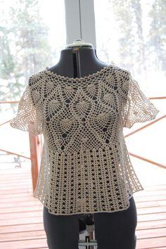 Lace Top Blouse Crochet Pineapple Yoke Size Medium by LoyesThread, $62.00