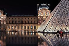 The Louvre at night - Paris, France