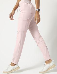 Charge Cargo Drawcord Pant in Blushing Pink - Medical Scrubs by Jaanuu Scrubs Outfit, Scrubs Uniform, Stylish Scrubs, Fashionable Scrubs, Doctor White Coat, Scrubs Pattern, Medical Scrubs, Nurse Scrubs, Medical Uniforms