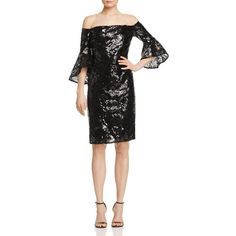 Laundry by Shelli Segal Sequin Off-The-Shoulder Dress (18.165 RUB) ❤ liked on Polyvore featuring dresses, black, off the shoulder dress, sequin embellished dress, off the shoulder cocktail dress, off shoulder cocktail dress and off shoulder dress