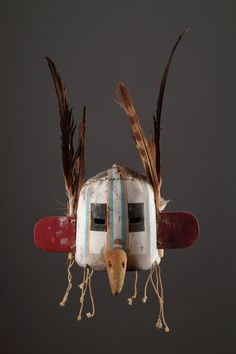 Hopi Kachina helmet shaped dance mask (1800 to 2000 North America)   - Leather, Wood, Pigment, Feather, Cord - Finch & Co