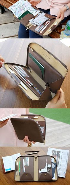 We love the simple look of this clutch! While it appears thin, it's quite deceiving! It comes with a book pocket, 3 slim pockets, 1 zipper pocket, 1 passport pocket, 1 key holder, 1 pen holder, and 6 card holders. It really is all-in-one!