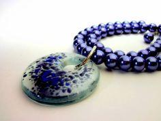 Pingente de Vidro Tons de azul Colar de pérolas azu