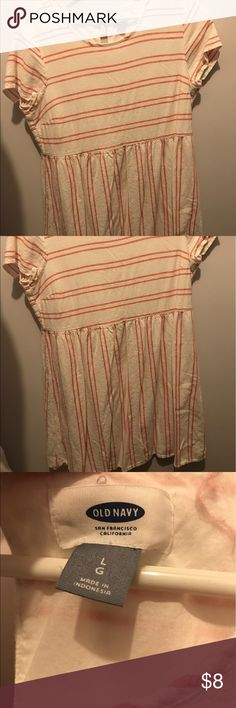 Old Navy linen dress size large Lenin cream with coral stripes! Worn but lots of life left!Super cute! Old Navy Dresses