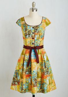 All the Colors of the Whim Dress. While the bold color scheme of this A-line may blend in with your autumnal surroundings, your style still stands out from the crowd! #multi #modcloth