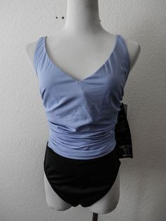 NWT MIRACLESUIT BY SWIM SHAPER Sz 16 BLACK & LILAC DRAPED TOP SLIMMING SWIMSUIT  #Miraclesuit #OnePiece