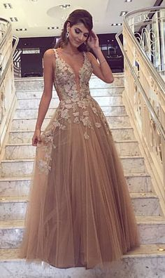long prom dresses,champagne prom dresses,tulle prom dresses,lace prom dresses #evening #gowns