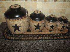Primitive Crackle Ceramic Canisters Set of 4  ~ Black Stars ~ Country Decor #NaivePrimitive