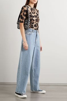 GANNI - Ruched leopard-print stretch-mesh T-shirt Simple Outfits, Summer Outfits, Casual Outfits, Cute Outfits, Fashion Outfits, Fasion, Wide Leg Jeans, Cropped Jeans, Mesh T Shirt