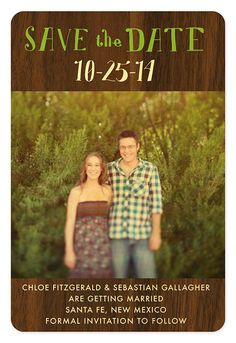 Rustic Walnut Save the Date  by Night Owl Paper Goods - $3.25