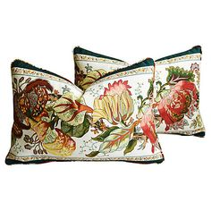 Vintage by Category | One Kings Lane Cotton Velvet, Cotton Fabric, Down Pillows, Throw Pillows, Fabric Feathers, Goose Feathers, Sherman Oaks, Printed Linen, Floral Motif