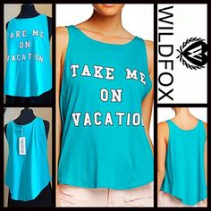 """WILDFOX Tank Top Take Me On Vacation RETAIL PRICE: $64  NEW WITH TAGS   WILDFOX Tank Top Take Me On Vacation  * A relaxed & subtly oversized fit * Incredibly soft & comfy stretch-to-fit fabric  * Crew neckline & pullover style w/ peplum like swing hem.  * Pink slogan letters; A purposely subtly distressed/'washed' look * About 23"""" long Fabric: 100% Cotton 123500 Color: Gem (turquoise green), made in the USA  No Trades ✅ Offers Considered*✅ Bundle Discounts ✅ *Please use the blue 'offer'…"""