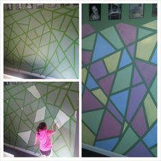 Great for a kids room!  Frog tape the walls to desired pattern, paint different shapes different colors, pull off tape... Ta-daaa!