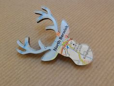 North Berwick, Edinburgh - Perspex Jewellery Jewelry - Highland Stag Brooch - Animal Jewellery - Map Jewellery - Travel Gift - Ladies Gift
