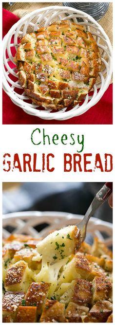 Cheesy Garlic Bread | A crosshatch cut loaf full of gooey cheese and garlic! @lizzydo