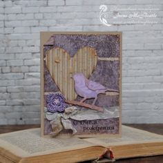 Vintage card: Bird and Heart. Lilac and craft. Crochet flower.