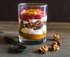 This delicious yogurt parfait is filled with pumpkin pie flavors. Yes, we can have pumpkin pie for breakfast! metabolism boost greek yogurt