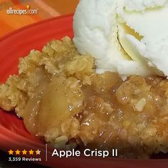 "Apple Crisp | ""Cinnamon-spiced apples are baked with a sweet oat crumble in this simple dessert. It's great served with ice cream!"""