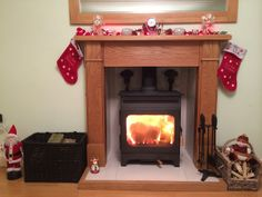 One of our Henley Oak Fire Surrounds all set ready for #Christmas. (www.oakfiresurrounds.co.uk)