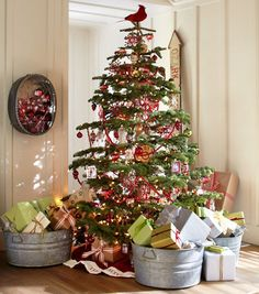 Presents in galvanized tubs under the tree Rustic Christmas