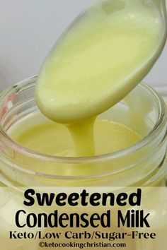 No carb diets 549509592034873186 - Sugar Free Sweetened Condensed Milk – Keto and Low Carb This low carb version of sweetened condensed milk is super easy to make and really tastes amazing! Sugar Free Desserts, Low Carb Desserts, Low Carb Recipes, Diet Recipes, Dessert Recipes, Sugar Free Foods, Sugar Free Food List, Slimfast Recipes, Jar Recipes