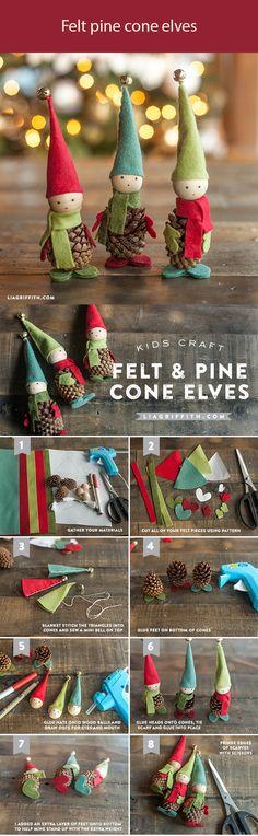 felt pine cone elves
